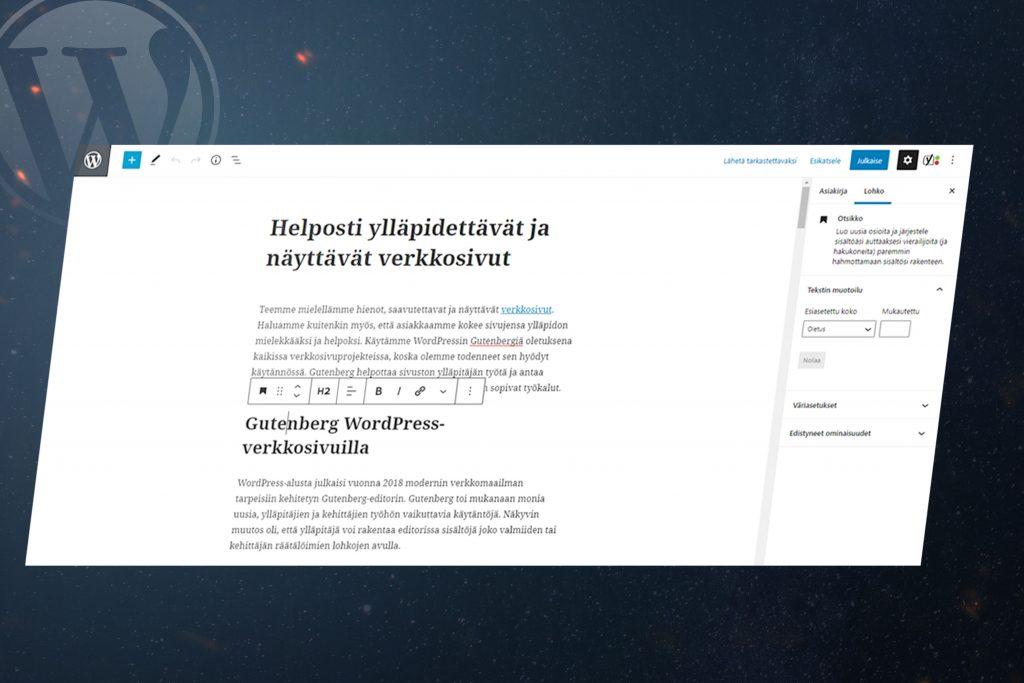 WordPress-verkkosivujen Gutenberg editori tietokoneen näytöllä.