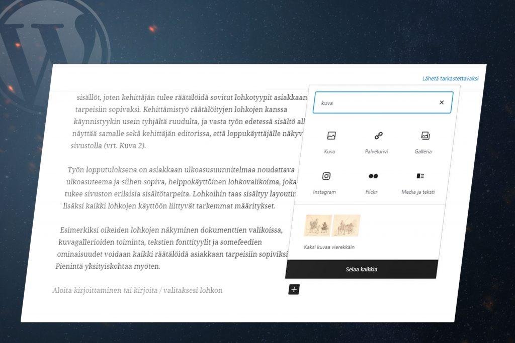 WordPress-verkkosivujen Gutenberg editori tietokoneen näytöllä kuvien lisäys lohkoon.