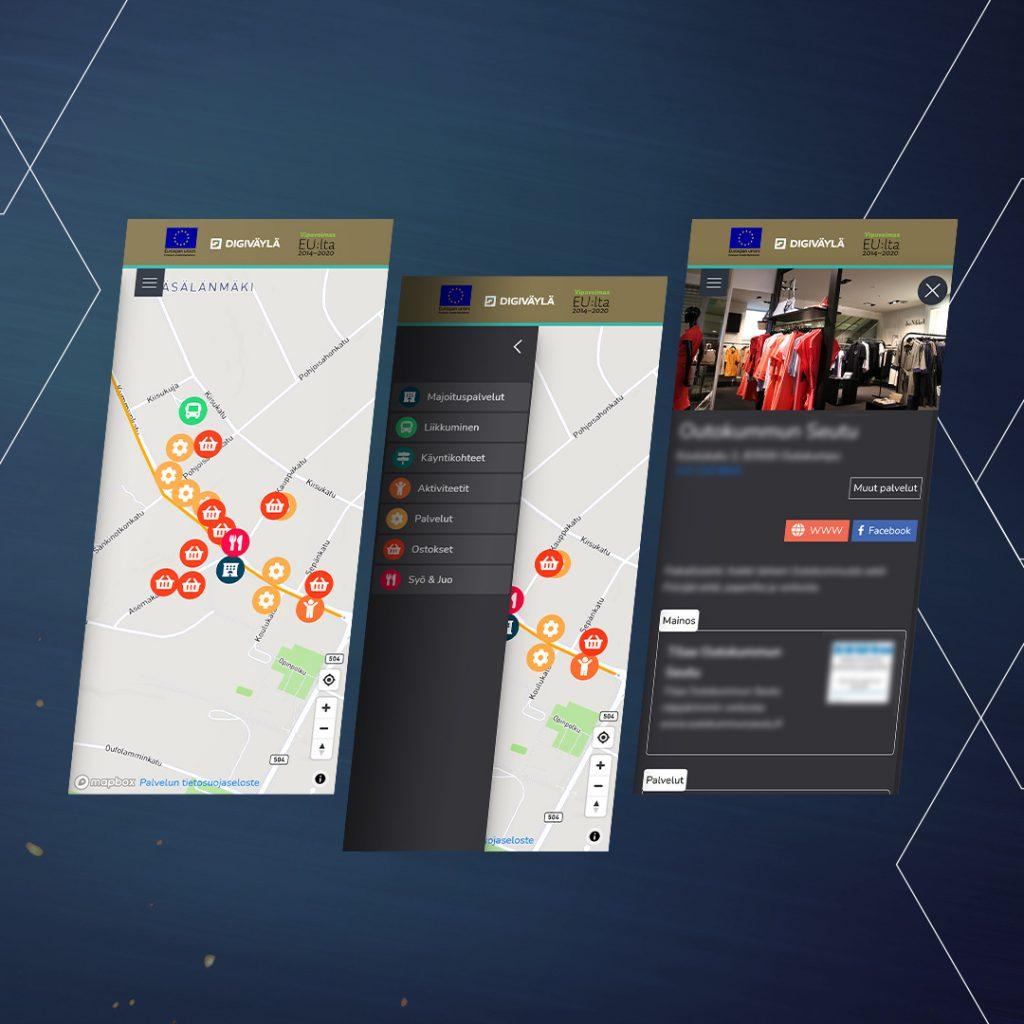 Web-ohjelmisto Digiväylä mockup karttanäkymästä.