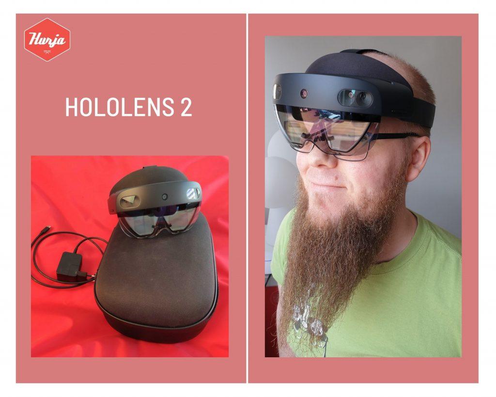 HoloLens 2 -paketissa onsuojakotelo, AR-lasit, latausjohto, puhdistusliina ja käyttöohje. Langattomat lasit käyttäjän päässä.